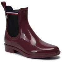 Kalosze TOMMY HILFIGER - Chocolate Truffle FW0FW04492 Block Rainboot GBY, kolor czerwony