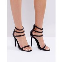 Missguided Black Rounded Four Strap Barely There Heels - Black