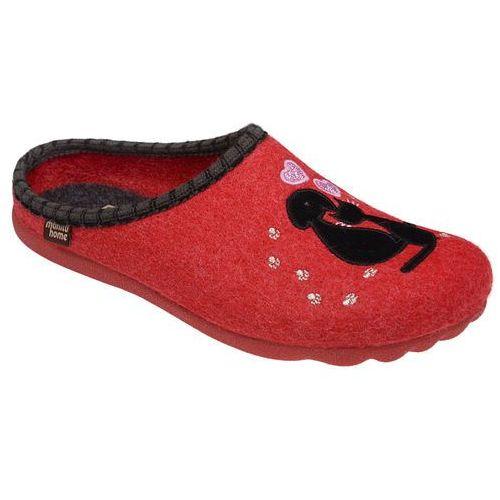 Manitu Kapcie pantofle domowe ciapy 320462-4 czerwone - czerwony ||multikolor