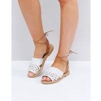 leather plaited sandal - white, Missguided