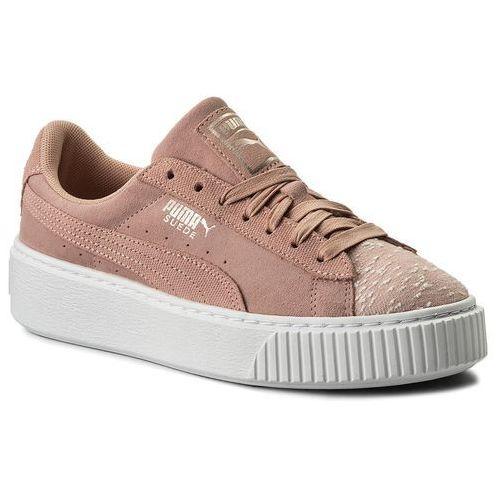 Puma Sneakersy - suede platform pebble 365464 01 peach beige/puma white