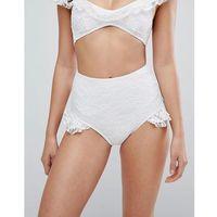 bridal white lace ruffle hip high waisted bikini bottoms - white, Playful promises