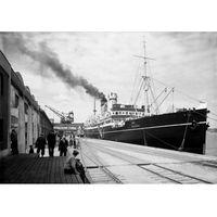 """Plakat Statek pasażerski """"Pułaski"""" przy Nabrzeżu Francuskim Portu Gdyńskiego"""