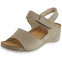Sandały letnie beżowy koturn nubukowa/ zamszowa/ welurowa marki Wasak