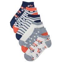 Bonprix Skarpety do sneakersów (6 par) niebieski melanż w kwiaty