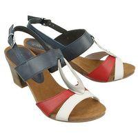 CAPRICE 28307-20 832 navy/red/white, sandały damskie - Granatowy