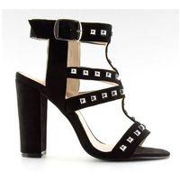 Sandałki na słupku z ćwiekami czarne 9909-3, kolor czarny