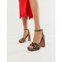 habitat leather platform block heeled sandals in leopard - multi marki Asos design