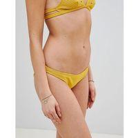 Playful Promises Ribbed Textured Eyelet Bikini Bottoms - Yellow, bikini