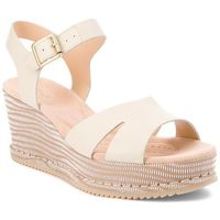 Sandały CLARKS - Akilah Eden 261309554 White Combi Leather, kolor beżowy