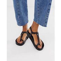 ASOS DESIGN Filmore premium leather minimal footbed toe loop sandals - Black, kolor czarny