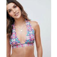 mix and match halter plunge bikini top in mosaic tile print - multi marki Asos design