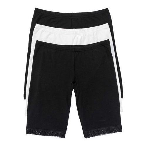 Majtki z nogawkami (3 pary) czarny + biel wełny, Bonprix, S-XXXXL