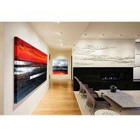 Duże obrazy do restauracji, apartamentów, loftów, salonu z antresolą - czerń i czerwień marki Pracownia art.&texture