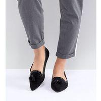 ASOS DESIGN Locker Wide Fit Pointed Loafer Ballet Flats - Black, kolor czarny