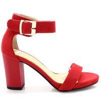 TYMOTEO 2661/2 CZERWONE- Sandały na słupku - Czerwony, kolor czerwony