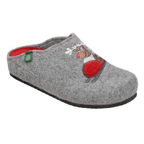 Kapcie 320541-91 popielate pantofle domowe ciapy zdrowotne - popielaty ||szary, Dr brinkmann