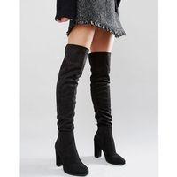 Daisy Street Black Heeled Over The Knee Boots - Black