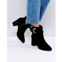 Glamorus black velvet d-ring heeled ankle boots - black marki Glamorous