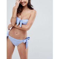 ASOS Mix and Match Crochet Tie Side Brazillian Bikini Bottom with Bunny Ties - Blue, bikini