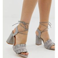 Truffle Collection wide fit ruffle tie leg heeled sandals - Red