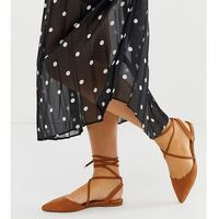 Asos design wide fit lawful plaited tie leg pointed ballet flats in tan - brown