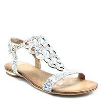 502/1 kwiaty - płaskie sandały, skórzane - multikolor marki Ravini