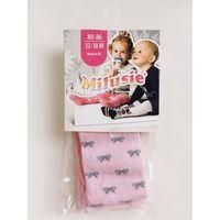 Rajstopy bawełniane - różowe w kokardki - rozmiar 56/62 - marki Milusie