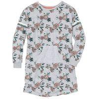 Koszula nocna z kieszonką kangurką bonprix jasnoszary melanż z nadrukiem, bawełna