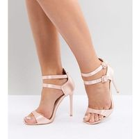 Lost Ink Wide Fit Satin Barely There Sandals - Pink, kolor różowy