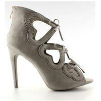 Buty obuwie damskie Szpilki botki ażurowe serca 1240 grey