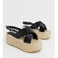 Truffle Collection wide fit cross strap flatform espadrille sandals - Black
