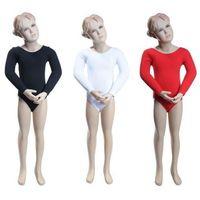 Body gimnastyczne z rękawem 3/4 B10034 białe - biały, kolor biały