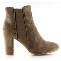 Buty obuwie damskie Botki ocieplane na obcasie beżowe khaki