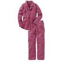 Piżama flanelowa bonprix różowy w kratę, w 2 rozmiarach