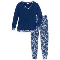 Piżama z miękkiego materiału ciemnoniebieski z nadrukiem, Bonprix, S-M