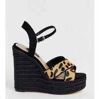 wide fit wedge sandals with stud detail in leopard print - multi, River island