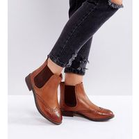 Dune London Wide Fit Quentons Leather Chelsea Flat Ankle Boots - Tan