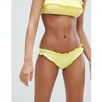 Lost ink shirred frill bikini bottom - yellow