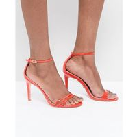 bright orange two part strappy heeled sandal - orange marki Dune