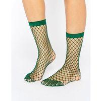 oversized fishnet ankle socks in green - green marki Asos