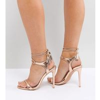 Lost Ink Wide Fit Rose Gold Tie Up Heeled Sandals - Gold