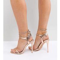 rose gold tie up heeled sandals - gold marki Lost ink wide fit