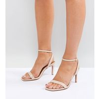 half time wide fit barely there heeled sandals - beige, Asos