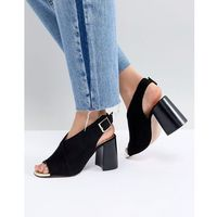 River island cross front high vamp block heeled sandals - black