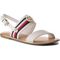 Sandały TOMMY HILFIGER - Corporate Ribbon Flat Sandal FW0FW02811 Whisper White 121, w 3 rozmiarach