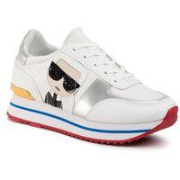 Sneakersy - kl61931 white lthr/textile w/multi, Karl lagerfeld