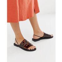 ASOS DESIGN Fluent high vamp slingback flat sandals in tortoise print - Multi