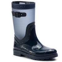Kalosze TOMMY HILFIGER - Translucent Detail Rain Boot FW0FW04126 Tommy Navy 406, w 3 rozmiarach