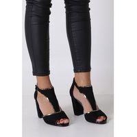 Czarne sandały na słupku z zakrytą piętą sk854 marki Sergio leone